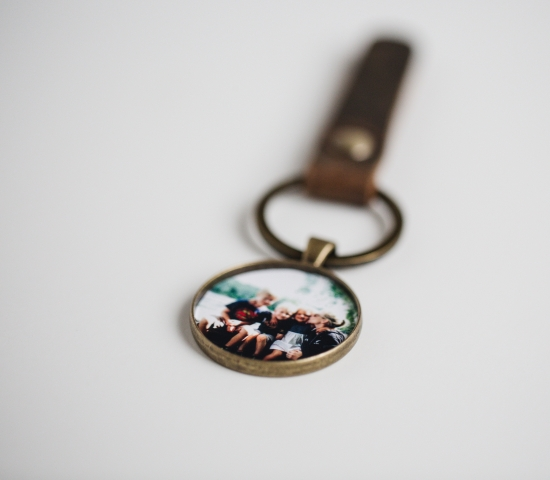 men's pocket locket piece with leather and photo inside